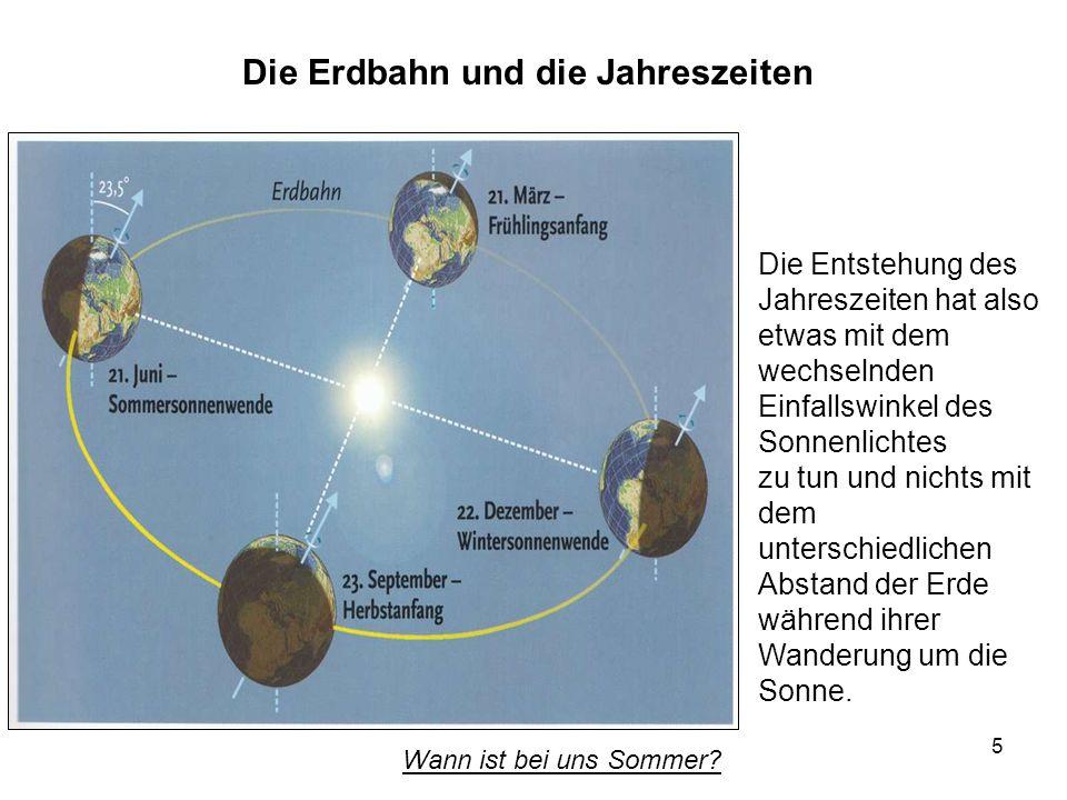 5 Die Erdbahn und die Jahreszeiten Die Entstehung des Jahreszeiten hat also etwas mit dem wechselnden Einfallswinkel des Sonnenlichtes zu tun und nich