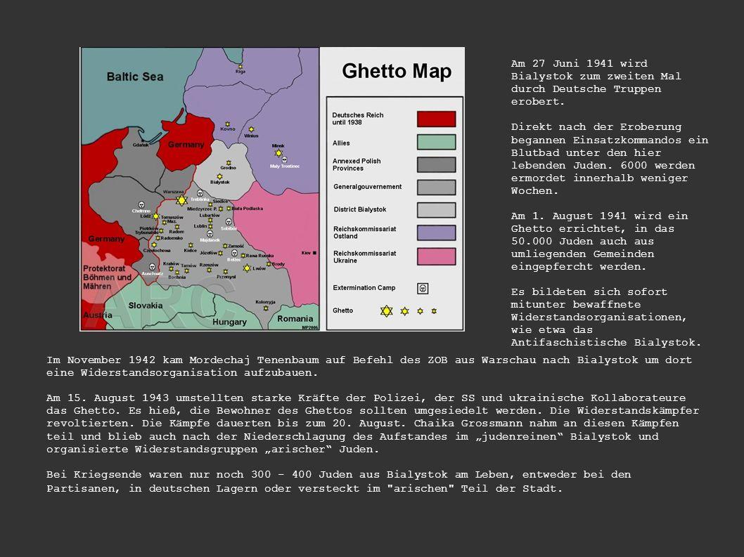 Am 27 Juni 1941 wird Bialystok zum zweiten Mal durch Deutsche Truppen erobert. Direkt nach der Eroberung begannen Einsatzkommandos ein Blutbad unter d