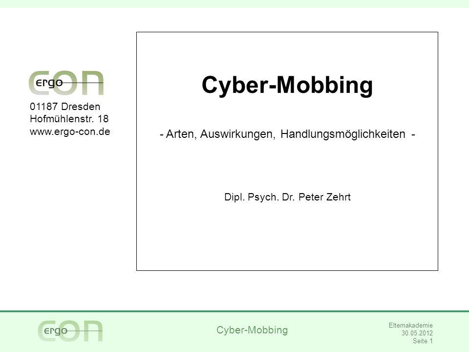 Cyber-Mobbing Elternakademie 30.05.2012 Seite 2 Einige Fragen im Voraus Haben Sie sich als Schüler/Schülerin manchmal aggressiv verhalten.