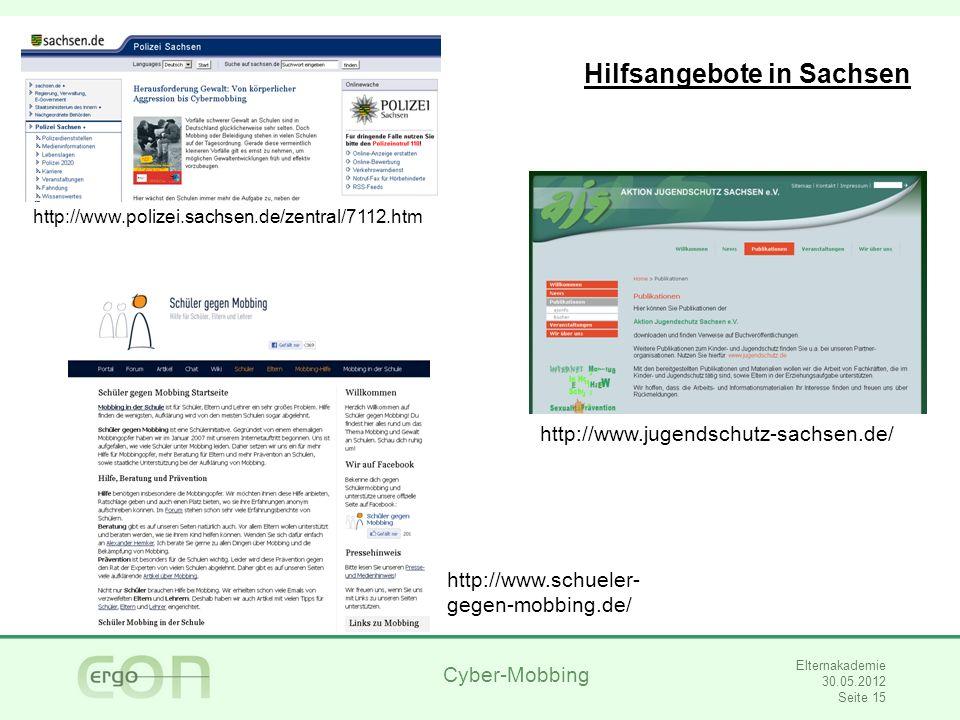 Cyber-Mobbing Elternakademie 30.05.2012 Seite 16 Vielen Dank für Ihre Aufmerksamkeit.