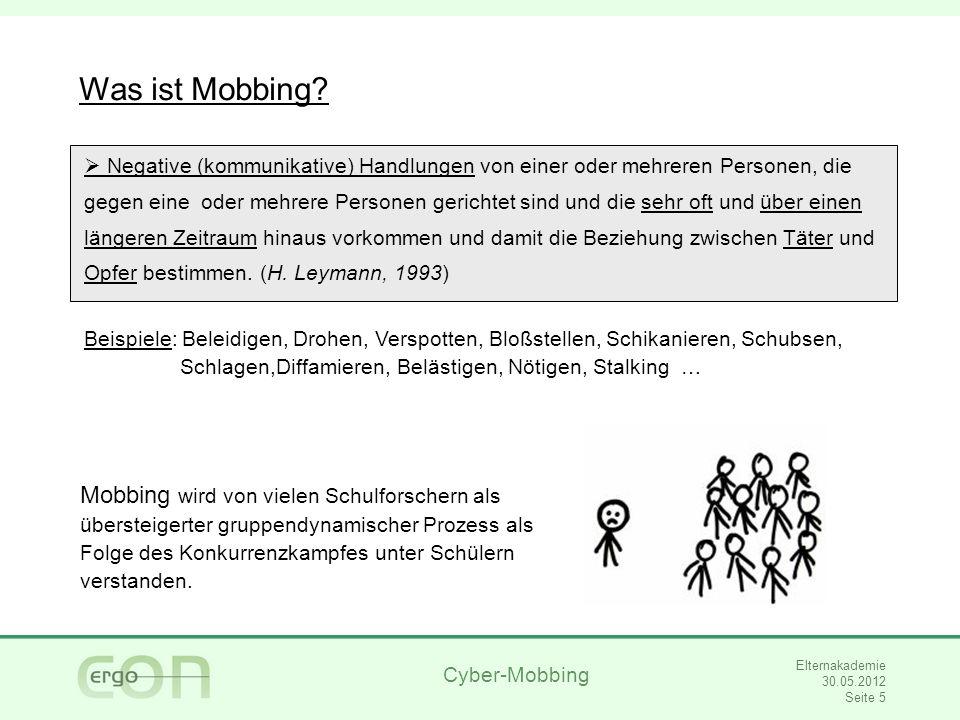 Cyber-Mobbing Elternakademie 30.05.2012 Seite 6 Was ist Cyber-Mobbing.