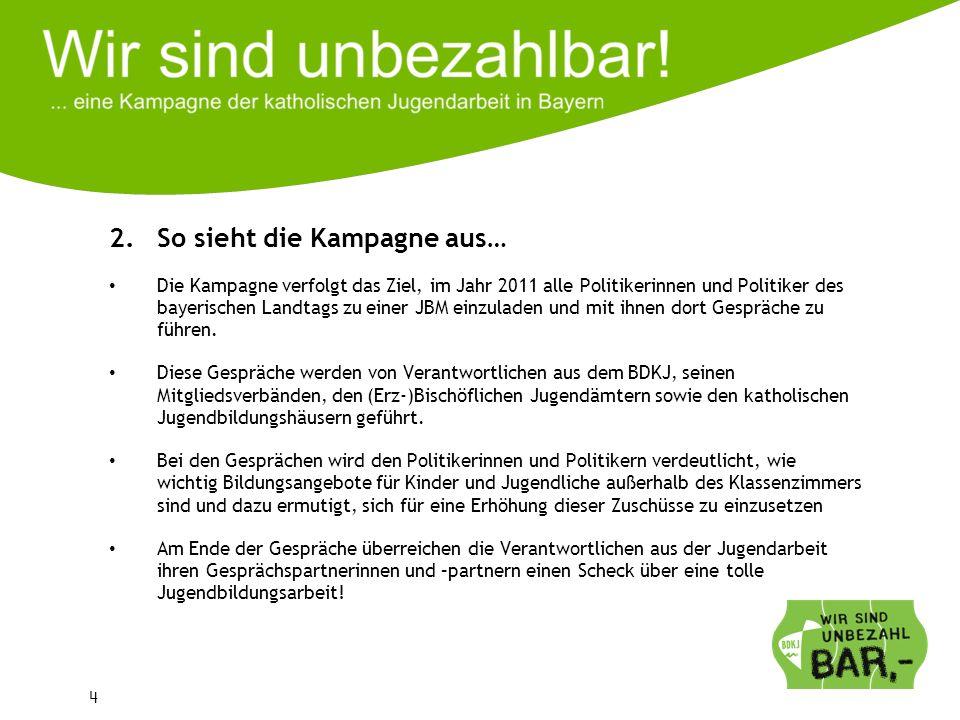 4 2.So sieht die Kampagne aus… Die Kampagne verfolgt das Ziel, im Jahr 2011 alle Politikerinnen und Politiker des bayerischen Landtags zu einer JBM ei