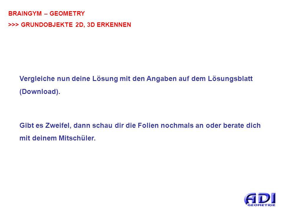BRAINGYM – GEOMETRY >>> GRUNDOBJEKTE 2D, 3D ERKENNEN Vergleiche nun deine Lösung mit den Angaben auf dem Lösungsblatt (Download).