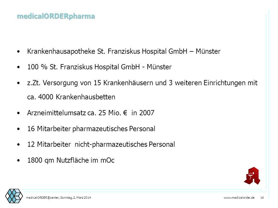 www.medicalorder.de 15medicalORDER®center, Sonntag, 2. März 2014 AHLEN Gesetzliche Vorgabe ApoG 14 (2) einer Versorgung durch Krankenhausapotheken Kre