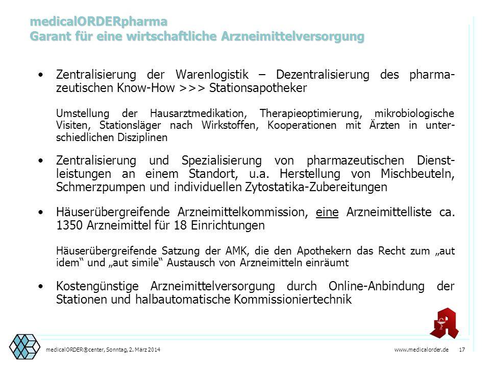 www.medicalorder.de 16medicalORDER®center, Sonntag, 2. März 2014 medicalORDERpharma Krankenhausapotheke St. Franziskus Hospital GmbH – Münster 100 % S