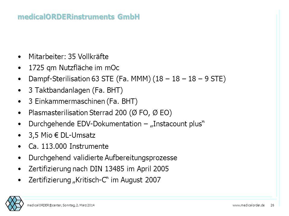 www.medicalorder.de 25medicalORDER®center, Sonntag, 2. März 2014 Unsere Leistungen medicalORDERinstruments Apotheke Logistik Zentral- Einkauf Sterili-