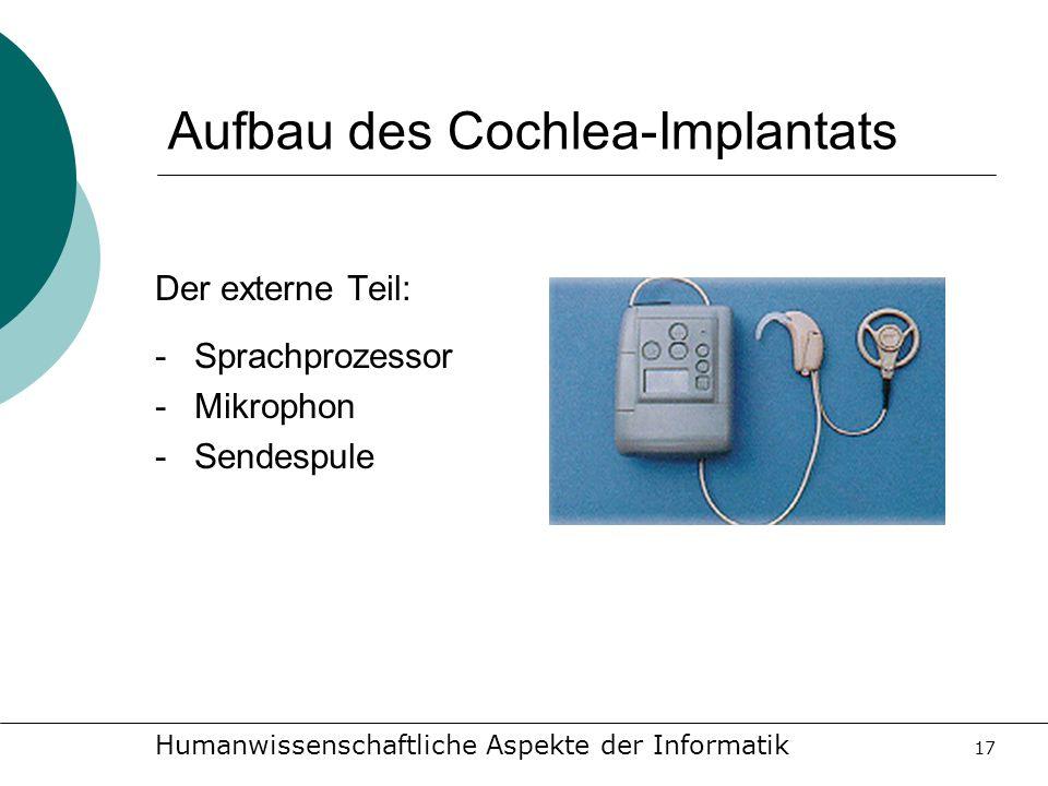 Humanwissenschaftliche Aspekte der Informatik 17 Aufbau des Cochlea-Implantats Der externe Teil: -Sprachprozessor -Mikrophon -Sendespule