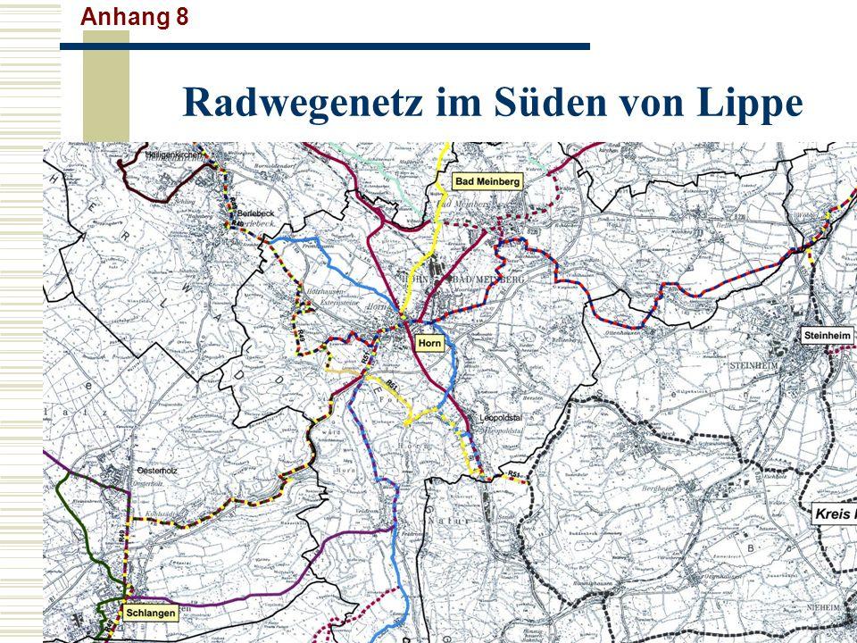 Radwegenetz im Süden von Lippe Anhang 8