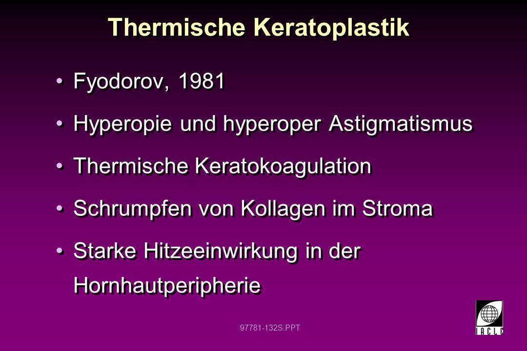 97781-133S.PPT Thermische Keratoplastik Zentral 5 - 8 mm vermieden Radiales oder semizirkuläres Koagulationsmuster Hornhaut muss trocken bleiben Milde bis mäßige postoperative Schmerzen, Photophobie, Tränensekretion und Fremdkörpergefühl sind normal -Alle Symptome verschwinden binnen 1 - 14 Tagen Zentral 5 - 8 mm vermieden Radiales oder semizirkuläres Koagulationsmuster Hornhaut muss trocken bleiben Milde bis mäßige postoperative Schmerzen, Photophobie, Tränensekretion und Fremdkörpergefühl sind normal -Alle Symptome verschwinden binnen 1 - 14 Tagen