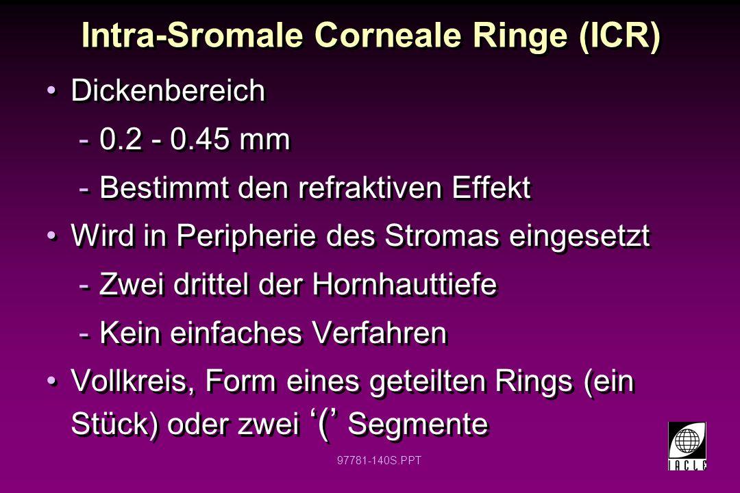 97781-141S.PPT Intra-Sromale Corneale Ringe INTACS ® Einschubkanal bei 68% der Hornhautdicke
