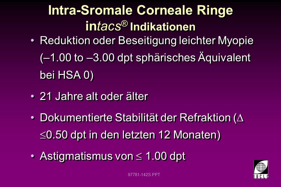97781-143S.PPT Intra-Sromale Corneale Ringe intacs ® Kontraindikationen Patienten mit Kollagen-, Gefäß-, Autoimmun-, oder Immunmangelkrankheiten Schwangerschaft und Stillzeit Keratokonus Rezidivierende Hornhauterosionen Hornhautdystrophie Benutzer von: -Isotretinoin (Accutane) -Amiodarone (Cordarone) -Sumatriptan (Imitrex) Patienten mit Kollagen-, Gefäß-, Autoimmun-, oder Immunmangelkrankheiten Schwangerschaft und Stillzeit Keratokonus Rezidivierende Hornhauterosionen Hornhautdystrophie Benutzer von: -Isotretinoin (Accutane) -Amiodarone (Cordarone) -Sumatriptan (Imitrex)