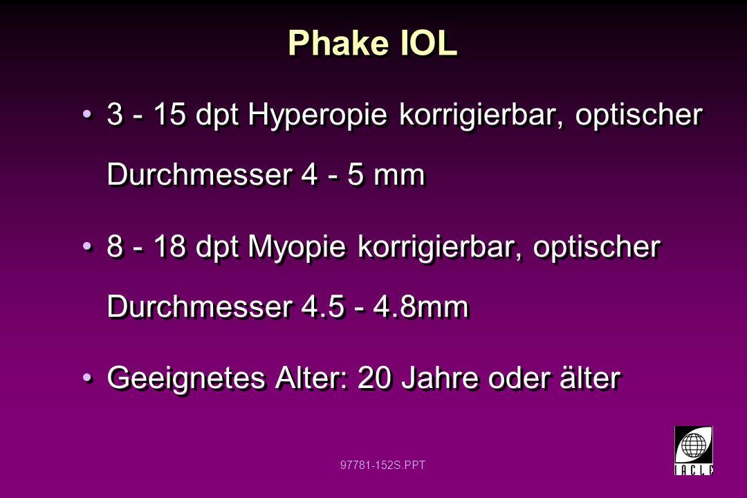 97781-153S.PPT Phake IOL Können über kleine Inzisionen injiziert werden (Linse entfaltet sich in situ) -Ähnlich wie bei Katarakt OP Adäquate Hinterkammertiefe und Pupillengröße notwendig Können über kleine Inzisionen injiziert werden (Linse entfaltet sich in situ) -Ähnlich wie bei Katarakt OP Adäquate Hinterkammertiefe und Pupillengröße notwendig