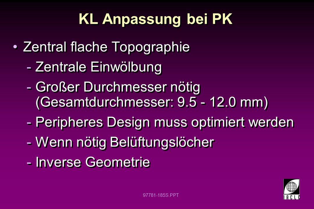 97781-186S.PPT KL Anpassung bei PK geschwollenes Transplantat -Großer Linsendurchmesser –10.0 – 12.0 mm -Großer Ø der hinteren opt.