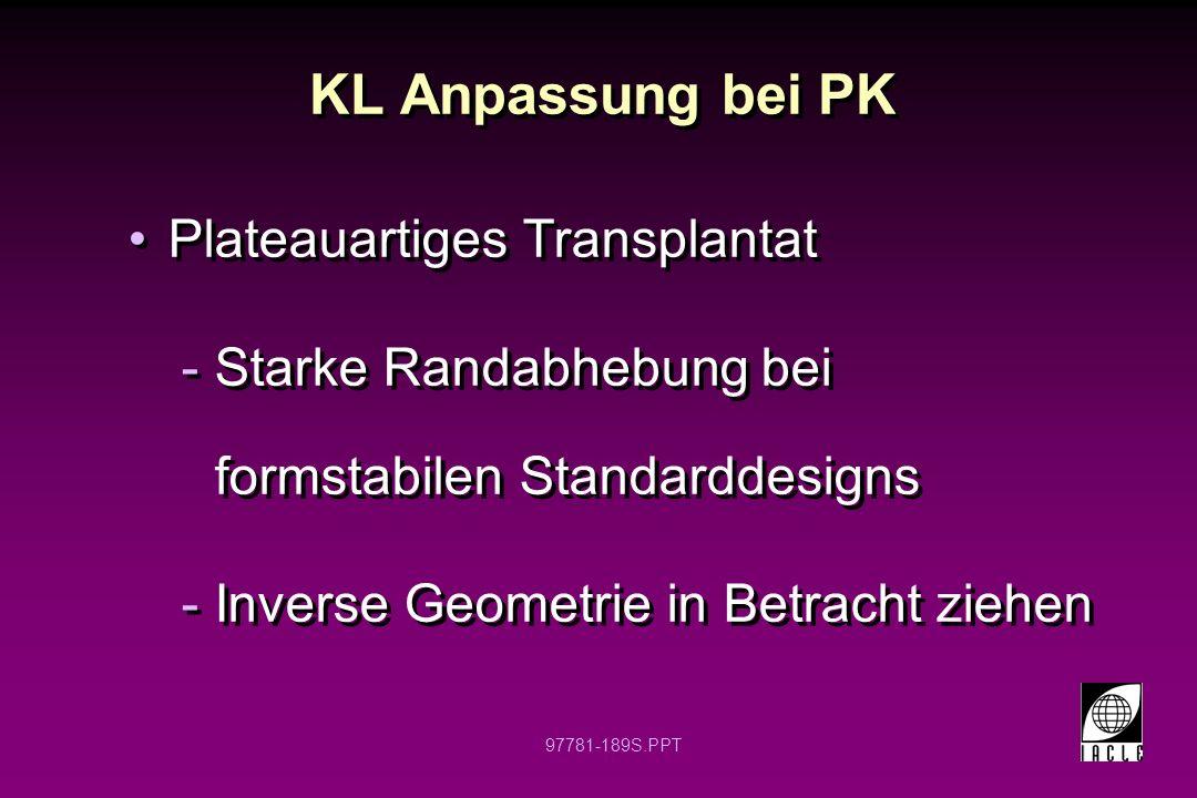 97781-190S.PPT KL Anpassung bei PK Verkipptes Transplantat -Schwierig mit formstabiler KL zu versorgen -Steilanpassung kann erfolgreich sein -Höchstwahrscheinlich Dezentrierung der Linse -Individuelle weiche KL in Betracht ziehen (sphärisch/torisch) Verkipptes Transplantat -Schwierig mit formstabiler KL zu versorgen -Steilanpassung kann erfolgreich sein -Höchstwahrscheinlich Dezentrierung der Linse -Individuelle weiche KL in Betracht ziehen (sphärisch/torisch)