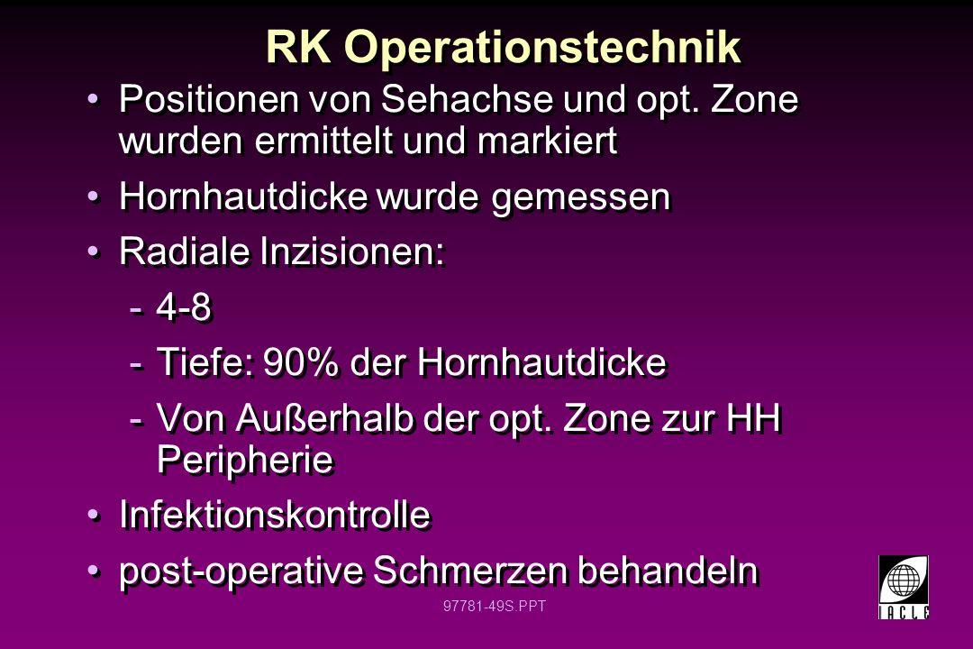 97781-50S.PPT Radiale Keratotomie Inzisionen 16 8 4 Klare Zone 3 mm
