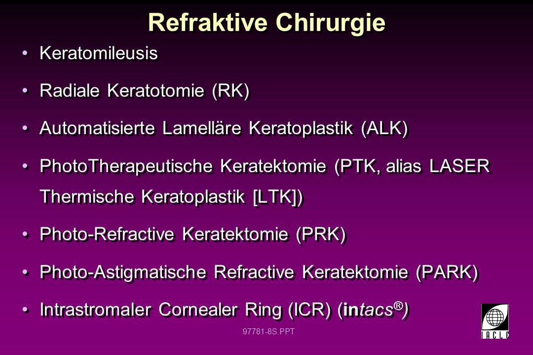 97781-9S.PPT Refraktive Chirurgie LASer-unterstützte in situ Keratomileusis (LASIK) LASER-unterstützte in situ Epithel Keratomileusis (LASEK, alias Epithel LASIK) Intraokulare oder Implantierbare Kontaktlinsen (ICL) Conductive Keratoplastik (CK) IntraLASIK (alias IntraLase) spezifische LASIK (Wellenfrontkorrigiert) LASer-unterstützte in situ Keratomileusis (LASIK) LASER-unterstützte in situ Epithel Keratomileusis (LASEK, alias Epithel LASIK) Intraokulare oder Implantierbare Kontaktlinsen (ICL) Conductive Keratoplastik (CK) IntraLASIK (alias IntraLase) spezifische LASIK (Wellenfrontkorrigiert)