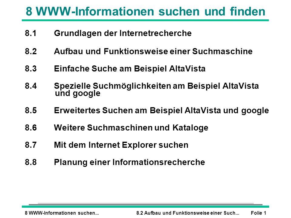 Folie 18 WWW-Informationen suchen...8.2 Aufbau und Funktionsweise einer Such... 8 WWW-Informationen suchen und finden 8.1Grundlagen der Internetrecher