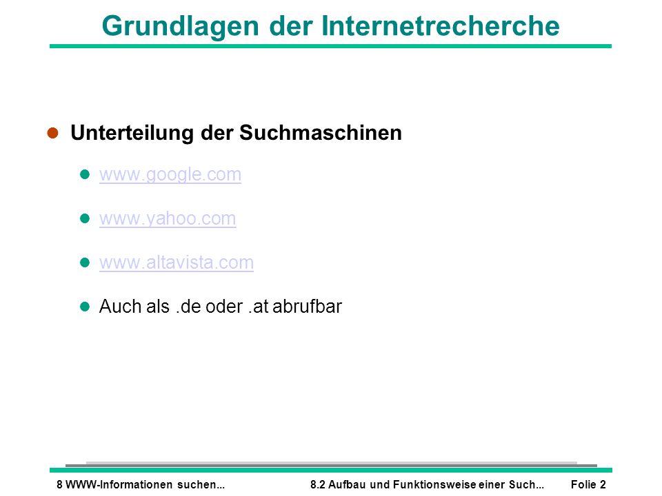 Folie 28 WWW-Informationen suchen...8.2 Aufbau und Funktionsweise einer Such... Grundlagen der Internetrecherche l Unterteilung der Suchmaschinen l ww