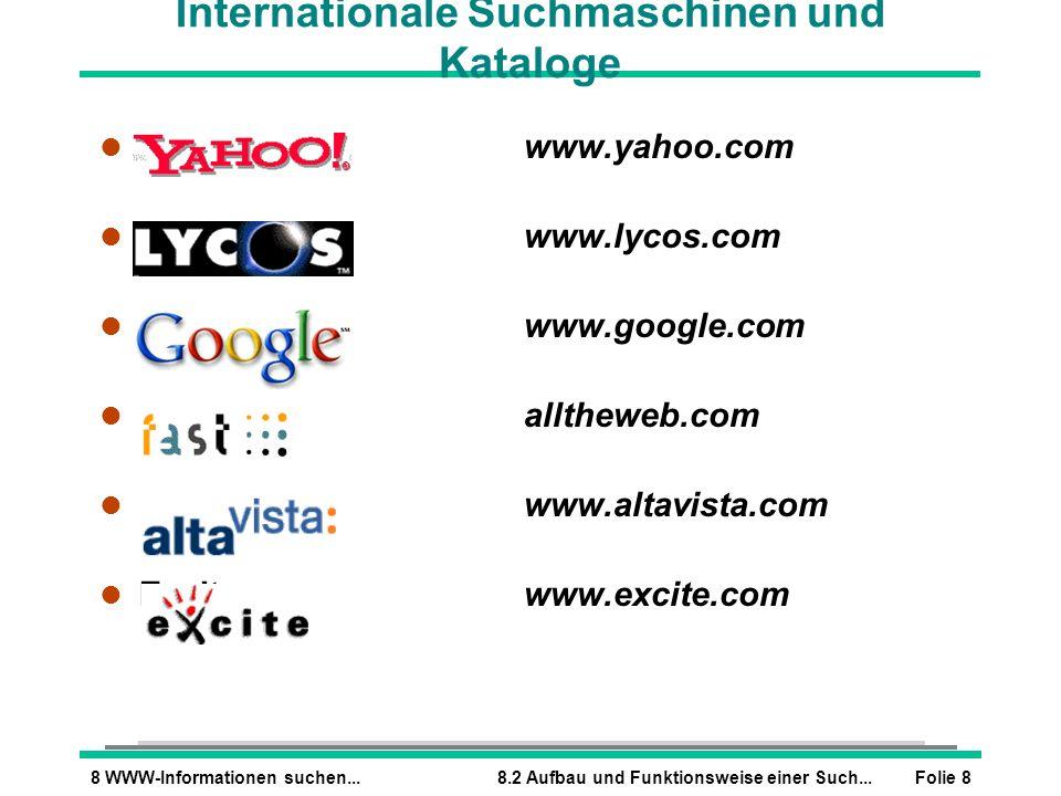 Folie 88 WWW-Informationen suchen...8.2 Aufbau und Funktionsweise einer Such... Internationale Suchmaschinen und Kataloge l Yahoowww.yahoo.com l Lycos
