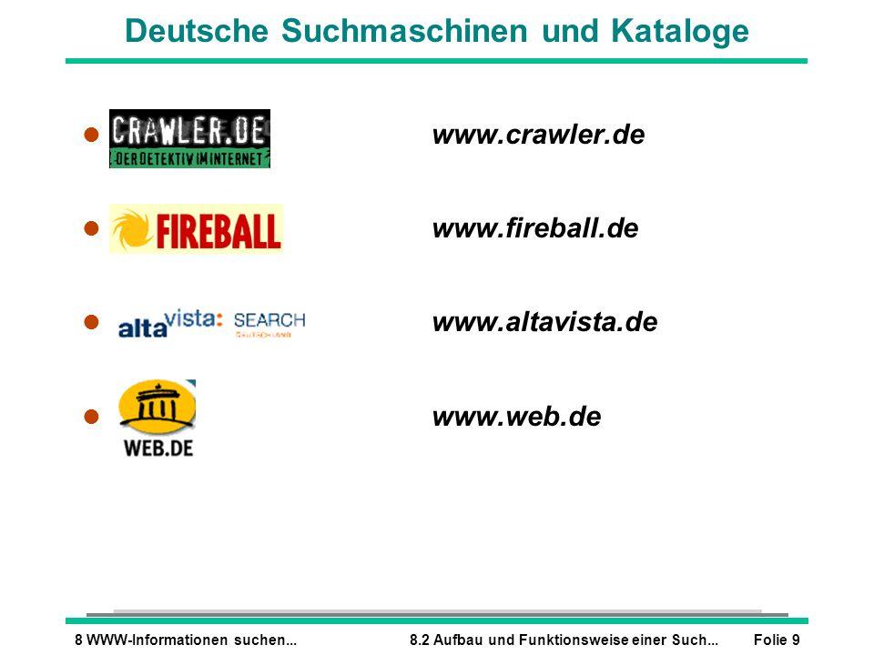 Folie 98 WWW-Informationen suchen...8.2 Aufbau und Funktionsweise einer Such... l www.crawler.de l www.fireball.de l www.altavista.de l www.web.de Deu