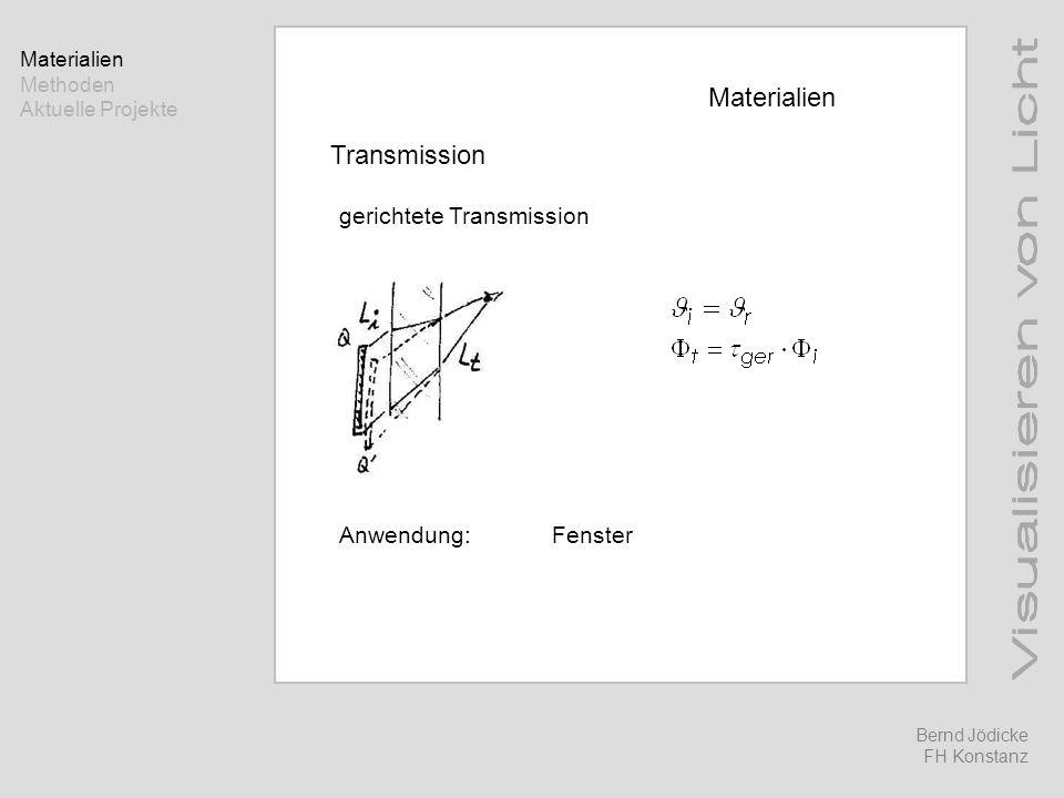 Materialien Methoden Aktuelle Projekte Bernd Jödicke FH Konstanz Materialien Transmission gerichtete Transmission Anwendung:Fenster