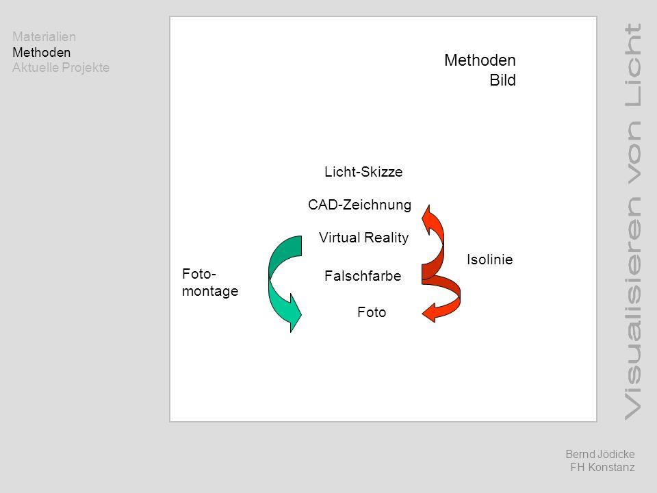Methoden Bild Licht-Skizze CAD-Zeichnung Virtual Reality Falschfarbe Foto Isolinie Foto- montage Bernd Jödicke FH Konstanz Materialien Methoden Aktuel