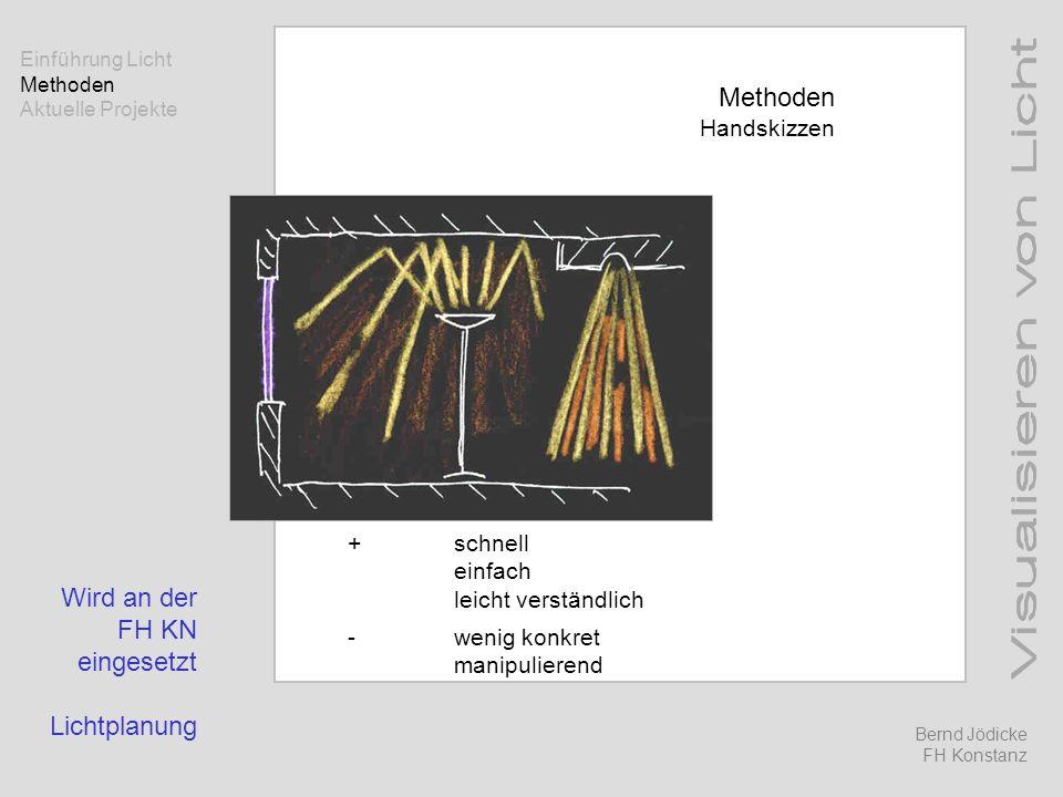 Methoden Handskizzen +schnell einfach leicht verständlich -wenig konkret manipulierend Wird an der FH KN eingesetzt Lichtplanung Einführung Licht Meth