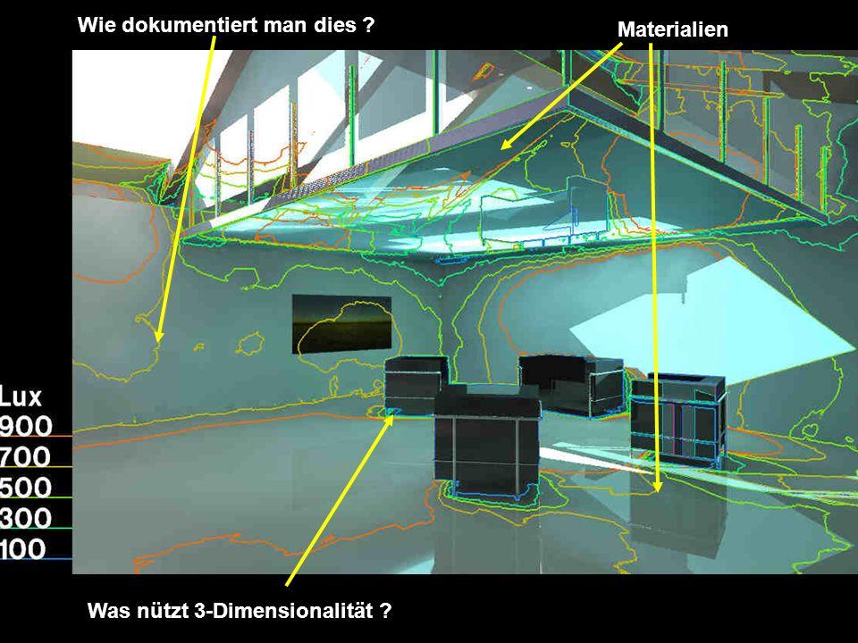 Materialien Was nützt 3-Dimensionalität ? Wie dokumentiert man dies ?