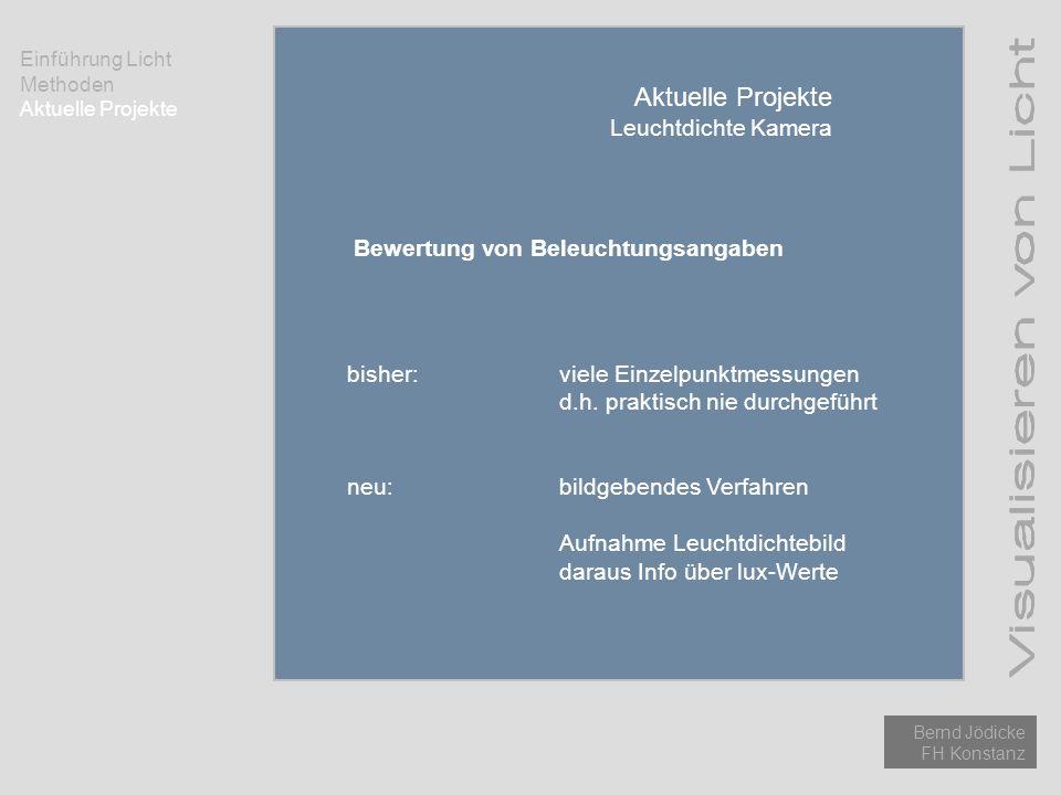 Einführung Licht Methoden Aktuelle Projekte Bernd Jödicke FH Konstanz Aktuelle Projekte Leuchtdichte Kamera Bewertung von Beleuchtungsangaben bisher:v