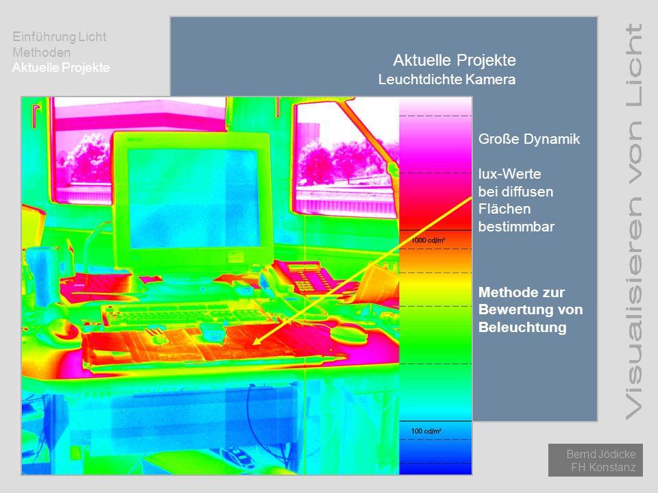 Einführung Licht Methoden Aktuelle Projekte Bernd Jödicke FH Konstanz Aktuelle Projekte Leuchtdichte Kamera Große Dynamik lux-Werte bei diffusen Fläch