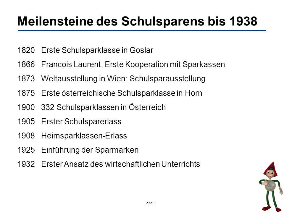 Seite 3 Meilensteine des Schulsparens bis 1938 1820Erste Schulsparklasse in Goslar 1866Francois Laurent: Erste Kooperation mit Sparkassen 1873Weltauss