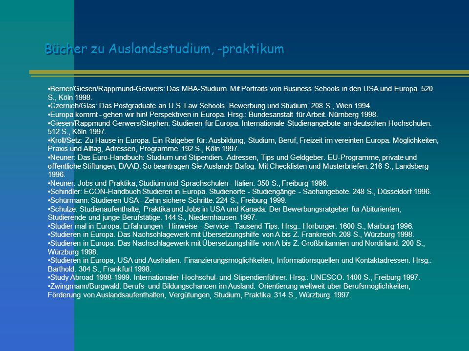 Berner/Giesen/Rappmund-Gerwers: Das MBA-Studium. Mit Portraits von Business Schools in den USA und Europa. 520 S., Köln 1998. Czernich/Glas: Das Postg