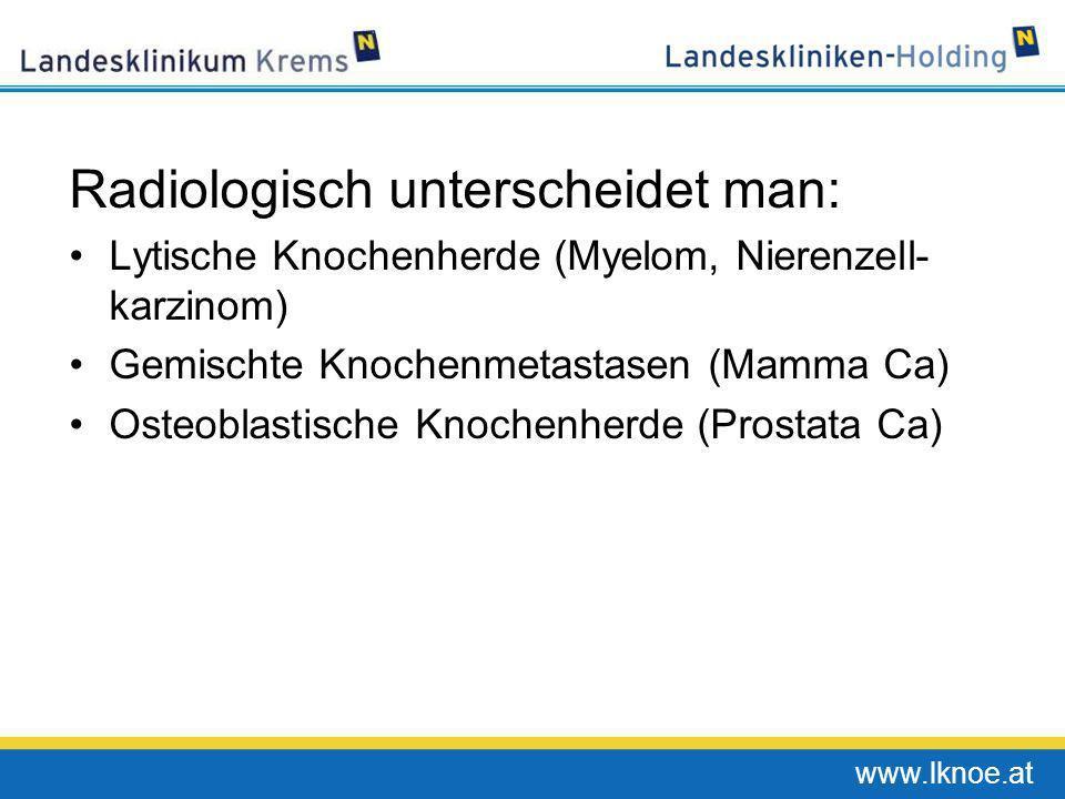 www.lknoe.at Radiologisch unterscheidet man: Lytische Knochenherde (Myelom, Nierenzell- karzinom) Gemischte Knochenmetastasen (Mamma Ca) Osteoblastisc