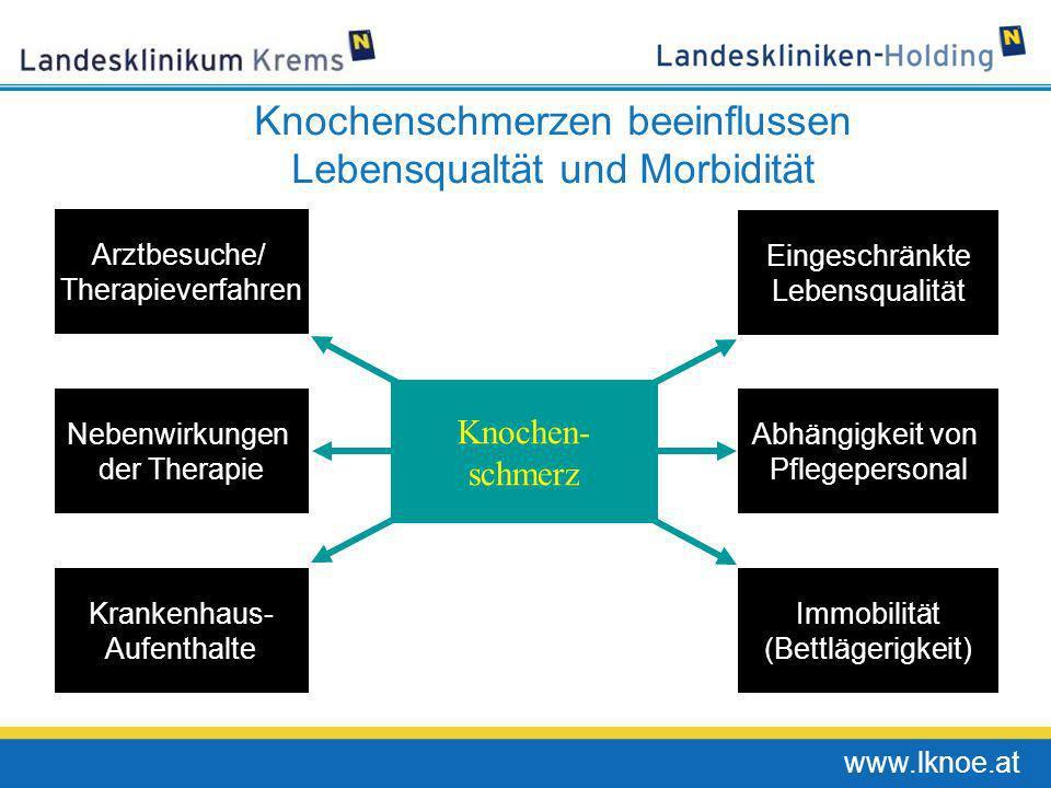 www.lknoe.at Knochenschmerzen beeinflussen Lebensqualtät und Morbidität Krankenhaus- Aufenthalte Arztbesuche/ Therapieverfahren Eingeschränkte Lebensq