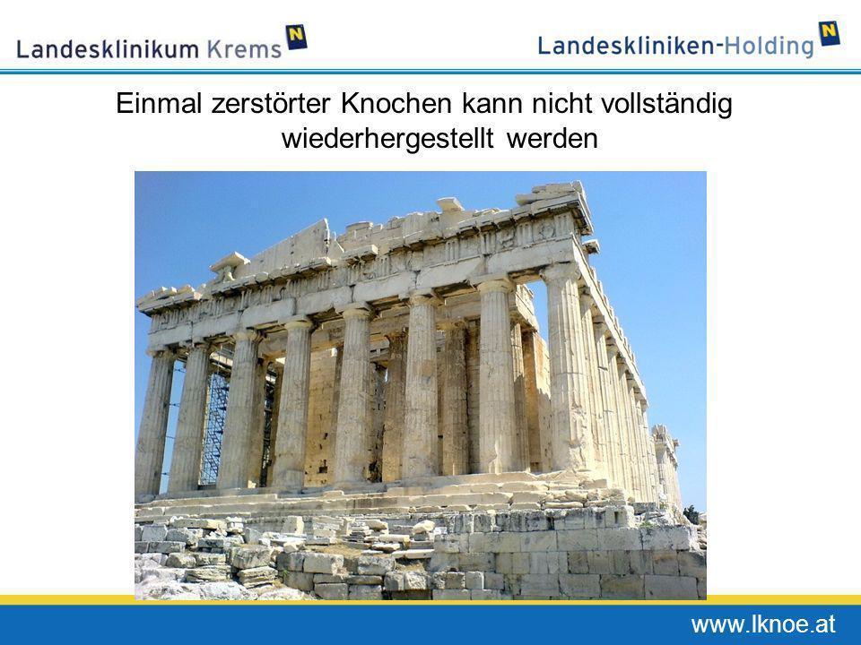 www.lknoe.at Osteoklasten bauen den Knochen ab Osteoclast Bone surface resorbed by osteoclast Adapted from: http://www.brsoc.org.uk/gallery/arnett_osteoclast.jpg.