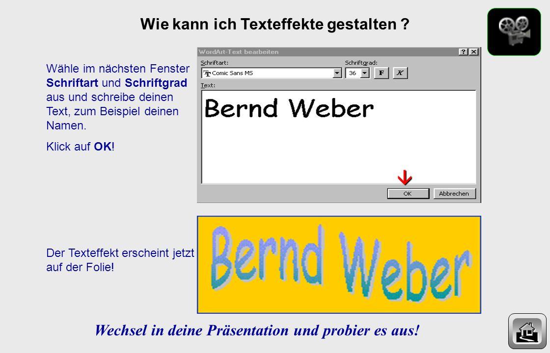 Wie kann ich Texteffekte gestalten ? In der Zeichnen-Menuleiste (unten) findest du das Zeichen WordArt einfügen. 1 Klicke einmal darauf. Du erhältst e