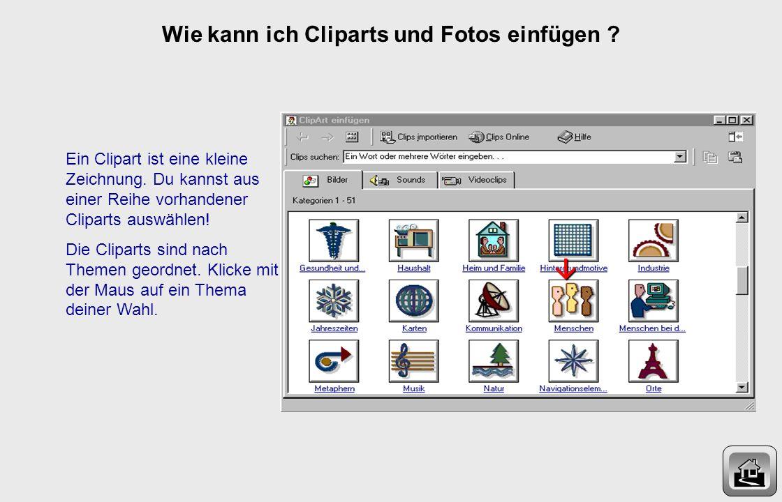 Wie kann ich Cliparts und Fotos einfügen ? Gehe in der Menuleiste auf Einfügen und wähle den Eintrag Grafik.1 2 Nun kannst du zwischen Clipart und Aus
