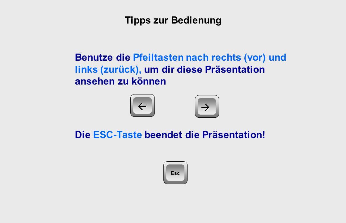 Tipps zur Bedienung Benutze die Pfeiltasten nach rechts (vor) und links (zurück), um dir diese Präsentation ansehen zu können Die ESC-Taste beendet die Präsentation.
