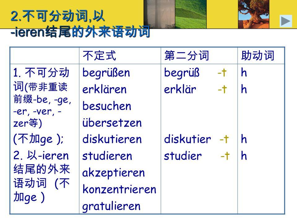 2., -ieren 1. ( -be, -ge, -er, -ver, - zer ) ( ge ); 2. -ieren ( ge ) begrüßen erklären besuchen übersetzen diskutieren studieren akzeptieren konzentr