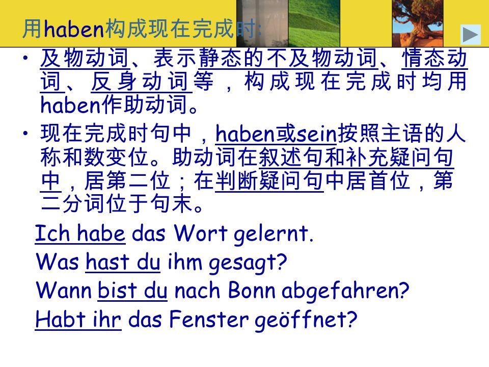haben : haben haben sein Ich habe das Wort gelernt. Was hast du ihm gesagt? Wann bist du nach Bonn abgefahren? Habt ihr das Fenster geöffnet?