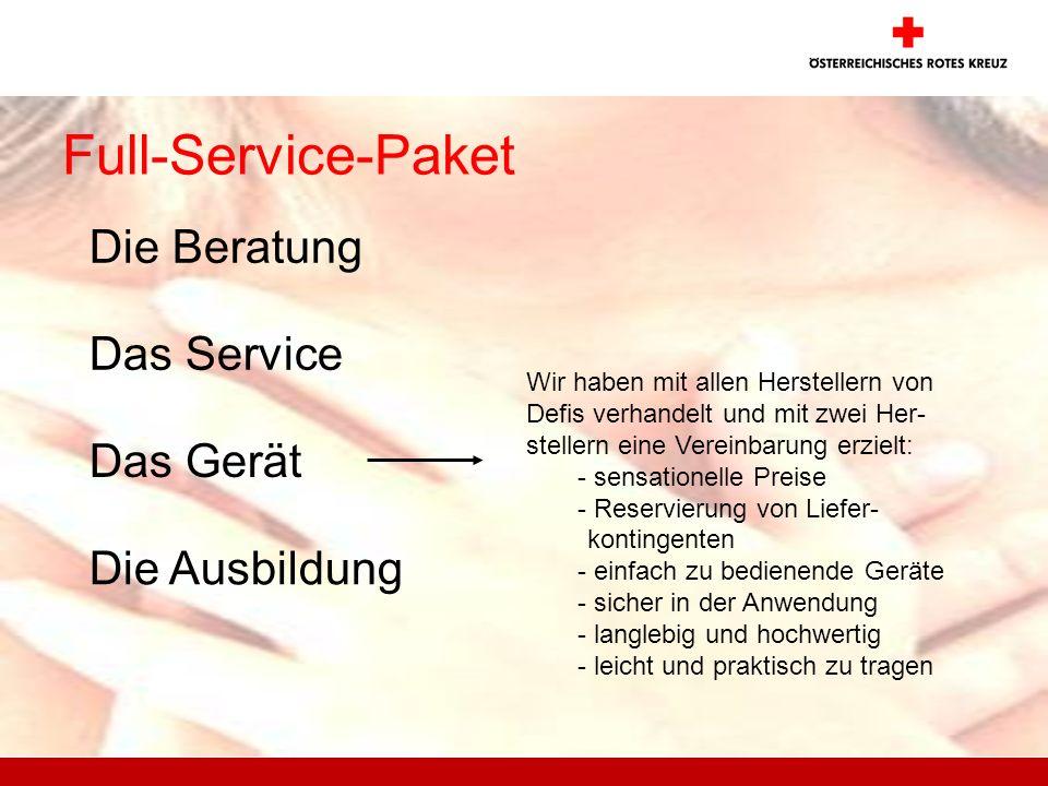 Full-Service-Paket Die Beratung Das Service Das Gerät Wir haben mit allen Herstellern von Defis verhandelt und mit zwei Her- stellern eine Vereinbarun