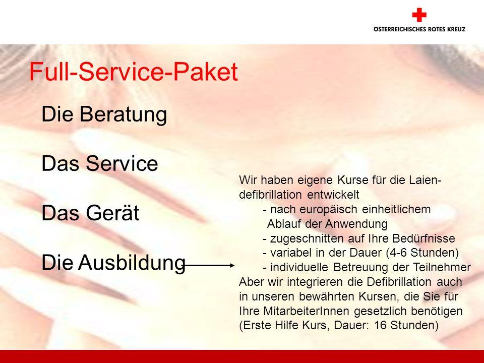 Full-Service-Paket Die Beratung Das Service Das Gerät Die Ausbildung Wir haben eigene Kurse für die Laien- defibrillation entwickelt - nach europäisch