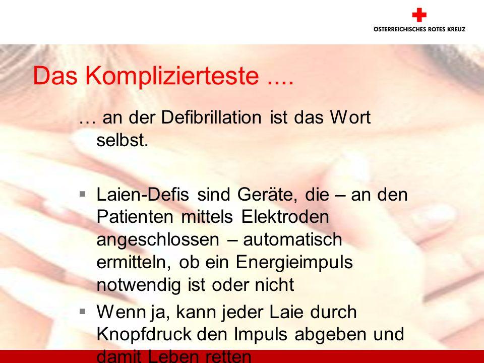 Das Komplizierteste.... … an der Defibrillation ist das Wort selbst. Laien-Defis sind Geräte, die – an den Patienten mittels Elektroden angeschlossen