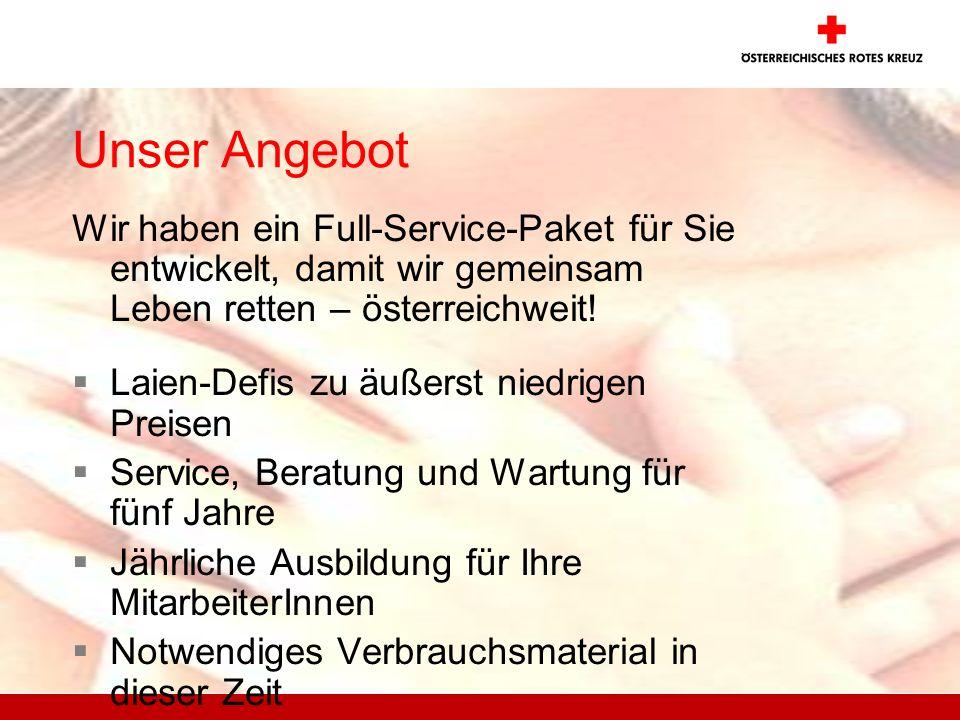 Unser Angebot Wir haben ein Full-Service-Paket für Sie entwickelt, damit wir gemeinsam Leben retten – österreichweit! Laien-Defis zu äußerst niedrigen