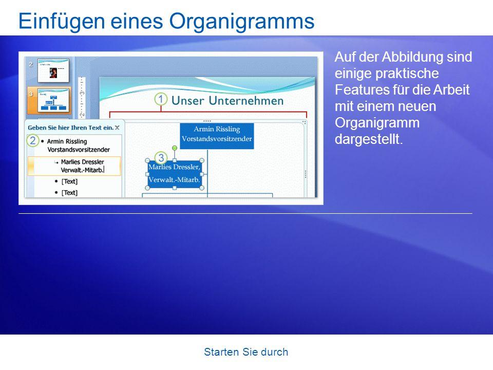 Starten Sie durch Einfügen eines Organigramms Auf der Abbildung sind einige praktische Features für die Arbeit mit einem neuen Organigramm dargestellt