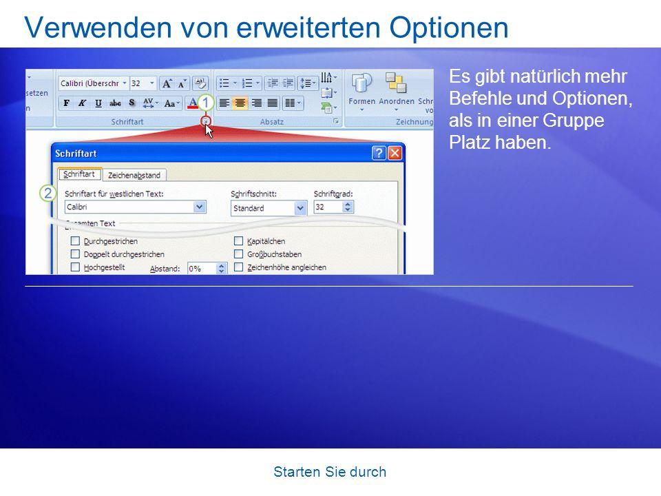 Starten Sie durch Anzeigen der Kataloge PowerPoint enthält viele Optionen für ein Element, z. B. Formatvorlagen für Formen, Arten von WordArt oder Ani