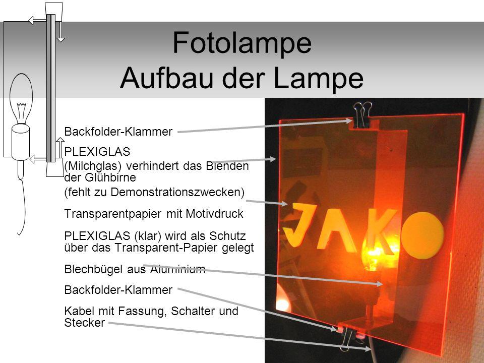 Fotolampe Aufbau der Lampe Backfolder-Klammer PLEXIGLAS (Milchglas) verhindert das Blenden der Glühbirne (fehlt zu Demonstrationszwecken) Transparentp