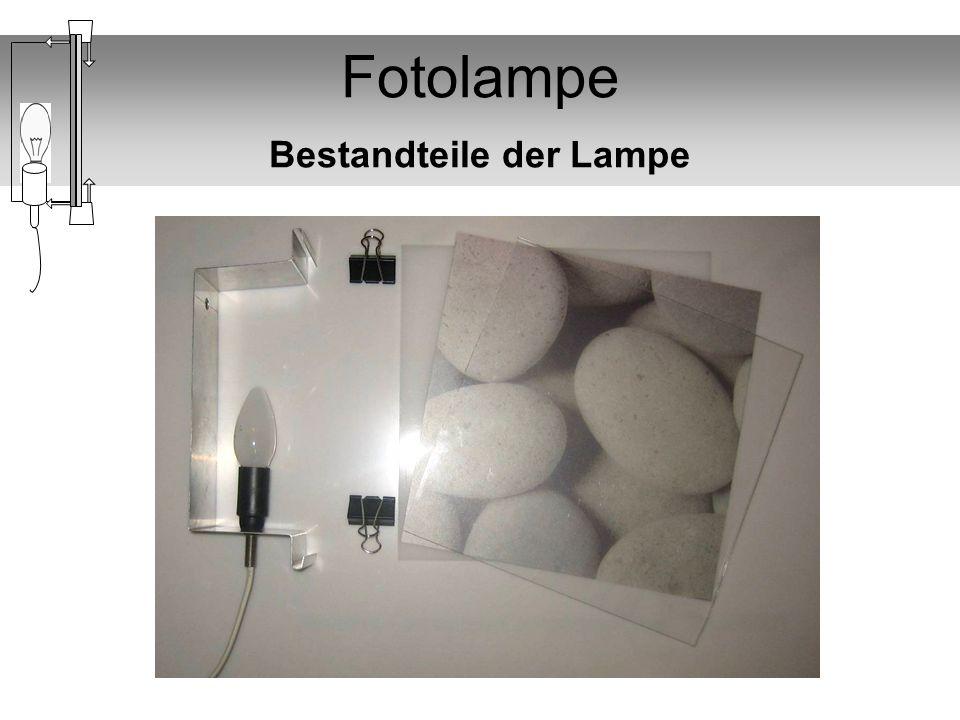 Fotolampe Material pro Lampe 1 Plexiglas transparent Dicke 2mm 230mm x 230 mm 1 Plexiglas Milchglas Dicke 2mm 230mm x 230 mm 1 Alublechstreifen Dicke 1mm 460mm x 80 mm 1 Kabel Länge 2 m 1 Schalter 1 Stecker 1 Lampenfassung E14 1 Gewinderohr mit Mutter 1 Stromsparlampe 1-3 A4 feste Transparentpapiere für den Drucker