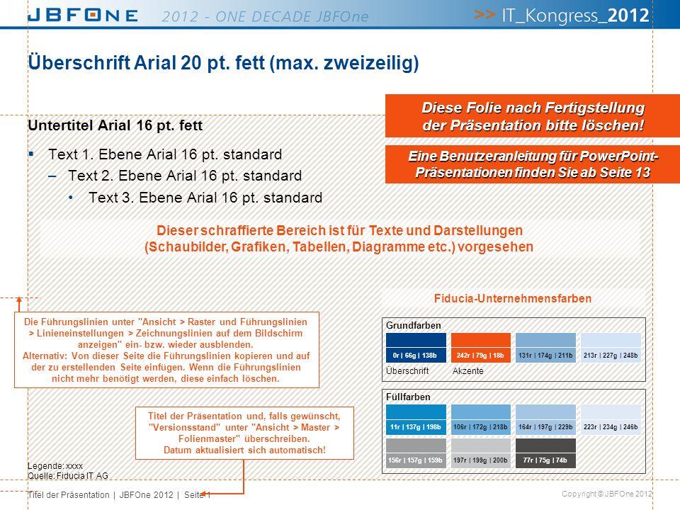Titel der Präsentation | JBFOne 2012 | Seite 12 Copyright © JBFOne 2012 Säulendiagramm Untertitel [Einheit] Quelle: Fiducia IT AG