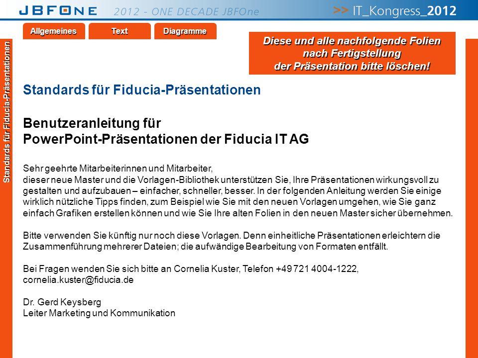 Titel der Präsentation | JBFOne 2012 | Seite 16 Copyright © JBFOne 2012 TextAllgemeinesDiagramme Standards für Fiducia-Präsentationen Benutzeranleitun